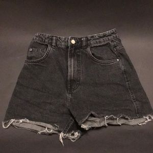Buy2Get3: High waisted Black TRF denim shorts